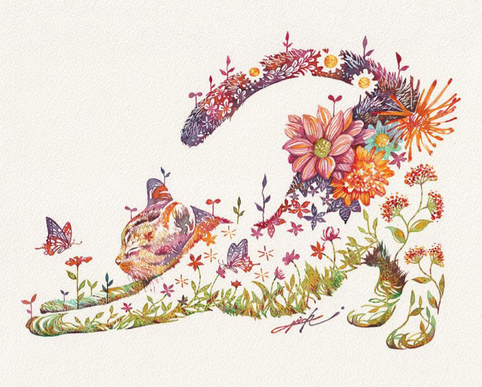 artista giapponese dipinge animali in versione floreale
